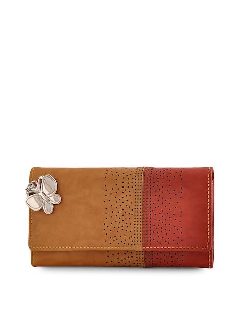 Butterflies Women Tan & Red Colourblocked Two Fold Wallet