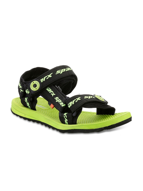 Sparx Men Black & Fluorescent Green Comfort Sandals