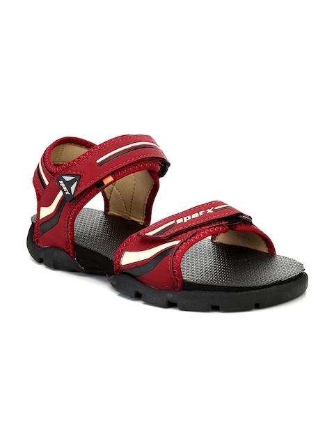 Sparx Men Maroon & Black Comfort Sandals