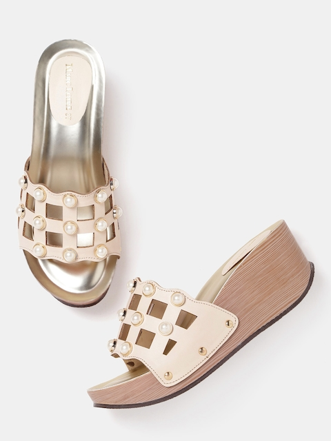 Marc Loire Women Cream-Coloured Embellished Sandals with Cut-Outs