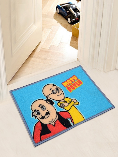Saral Home Multicoloured Motu Patlu Print Anti-Skid Doormat