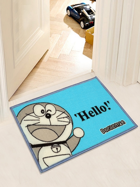 Saral Home Blue & Grey Doraemon Print Anti-Skid Doormat