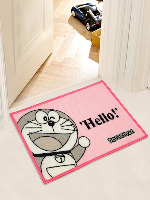 Saral Home Pink & Grey Doraemon Print Anti-Skid Doormat