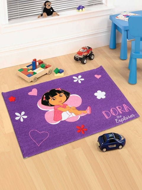 Saral Home Purple Dora Print Doormat