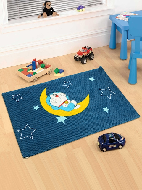Saral Home Navy Blue Doraemon Print Doormat
