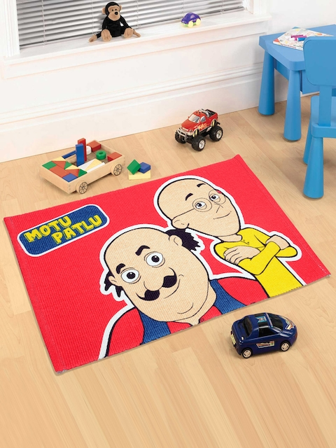Saral Home Red Motu Patlu Print Doormat