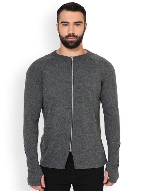 GRITSTONES Men Grey Solid Lightweight Open Front Jacket
