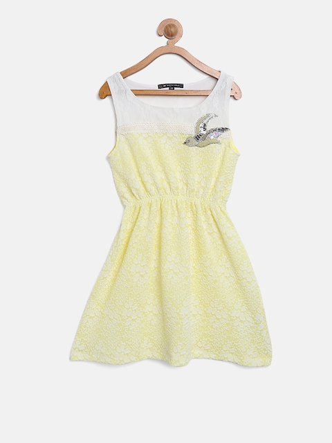 Monte Carlo Girls Yellow & White Self-Design Fit & Flare Dress