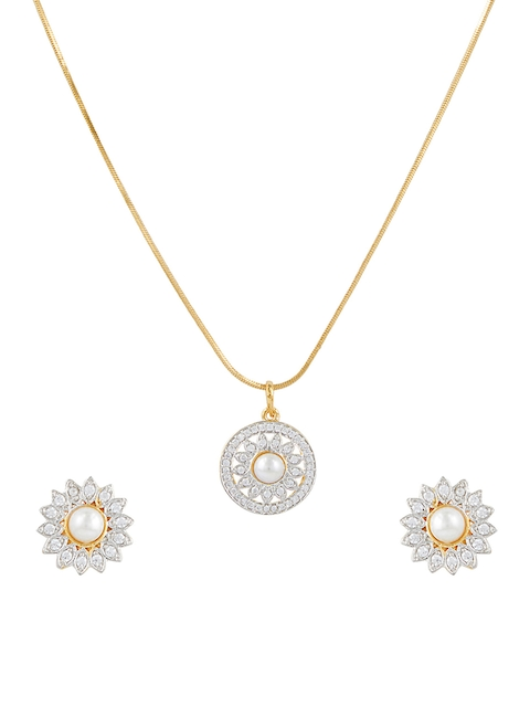Sia Art Jewellery Gold-Toned & Silver-Toned Party Wear Jewellery Set