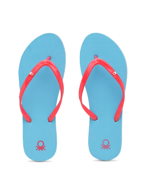 United Colors of Benetton Women Red & Blue Thong Flip-Flops
