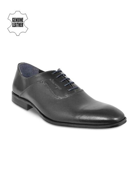 Allen Cooper Men Black Leather Formal Oxford Shoes
