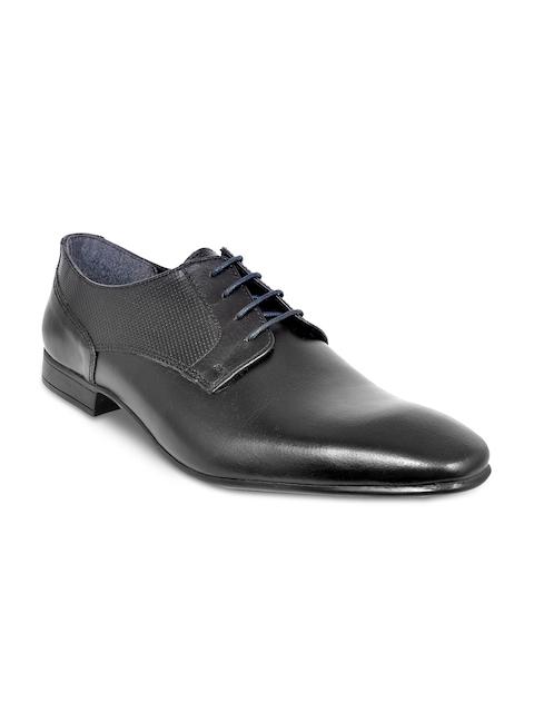 Allen Cooper Men Black Solid Leather Formal Derbys