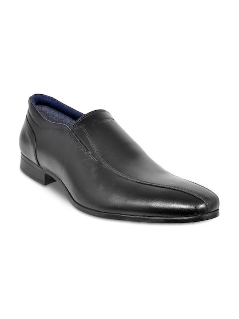 Allen Cooper Men Black Solid Leather Formal Shoes