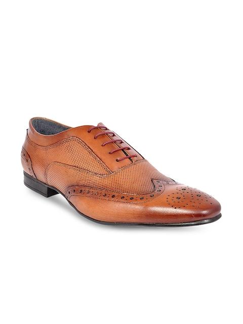Allen Cooper Men Tan Leather Formal Brogues