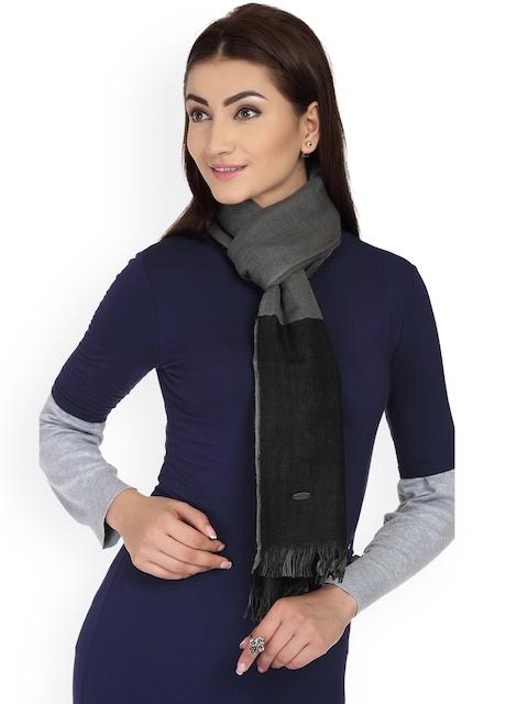 SHINGORA Women Black & Grey Solid Woolen Stole
