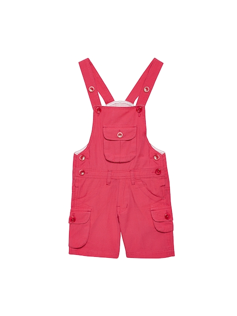 FirstClap Unisex Pink Solid Dungaree