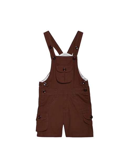FirstClap Unisex Brown Solid Dungaree