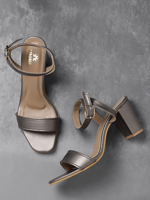 Anouk Women Gunmetal-Toned Solid Sandals