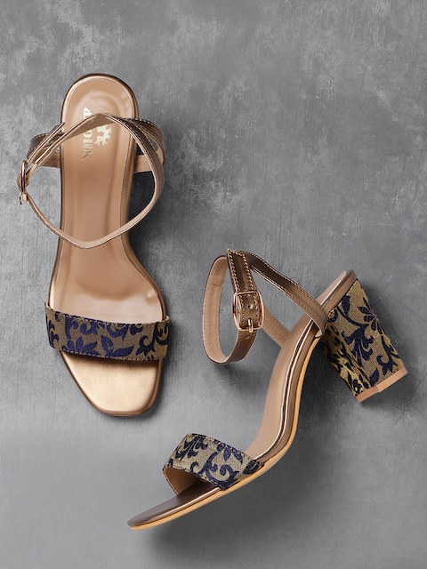 Anouk Women Navy & Gold-Toned Woven Design Sandals