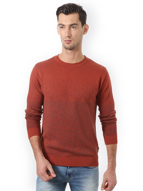 Allen Solly Men Rust Ribbed Pullover
