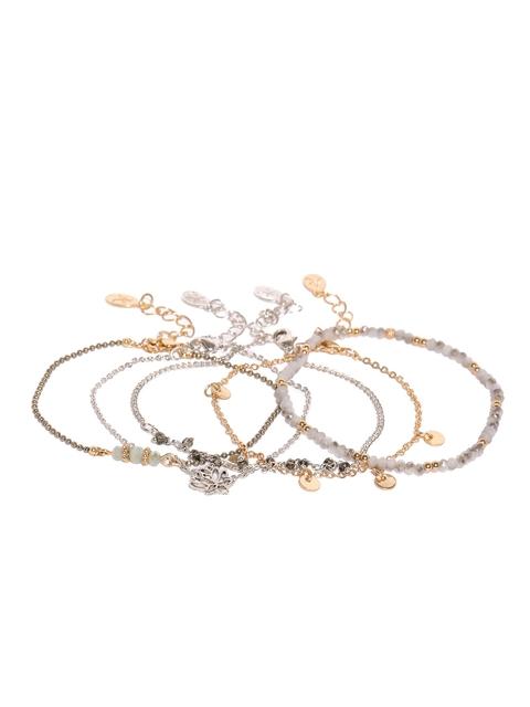 Accessorize Gunmetal-Toned Set Of 5 Bracelets