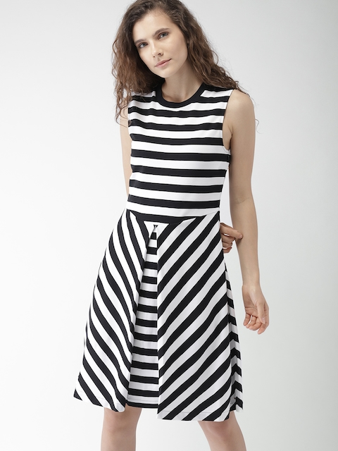Tommy Hilfiger Women Black & White Striped Fit and Flare Dress