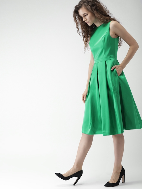 Tommy Hilfiger Women Green Solid Fit and Flare Dress