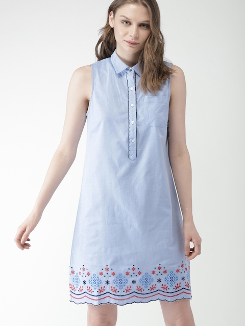 Tommy Hilfiger Women Blue Solid Shirt Dress