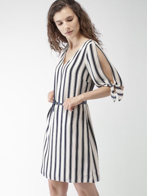 Tommy Hilfiger Women Beige Striped A-Line Dress