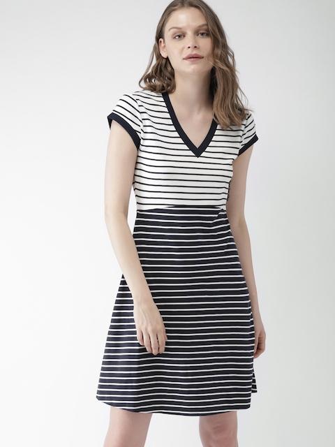 Tommy Hilfiger Women Navy Blue Striped A-Line Dress