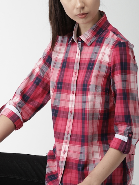 Tommy Hilfiger Women Pink Regular Fit Checked Casual Shirt