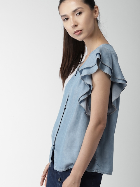 Tommy Hilfiger Women Blue Solid Shirt Style Top
