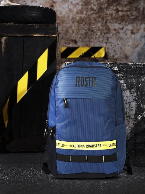 Roadster Unisex Navy Blue & Yellow Printed Wind Breaker Backpack
