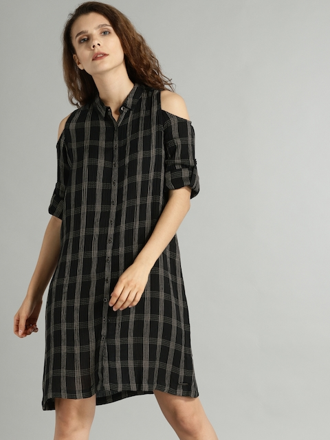 Roadster Women Black Checked Shirt Dress