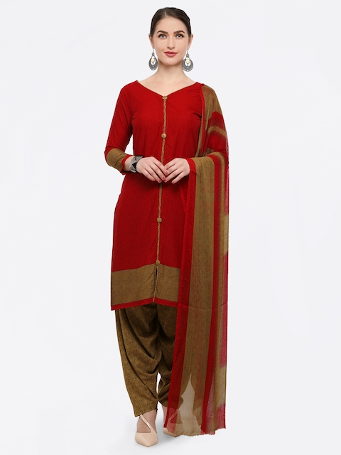 Rajnandini Maroon & Brown Poly Crepe Unstitched Dress Material