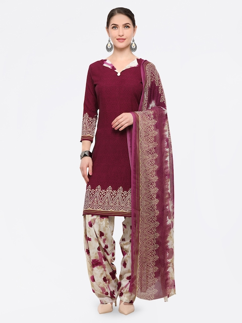 Rajnandini Maroon & Off-White Poly Crepe Unstitched Dress Material