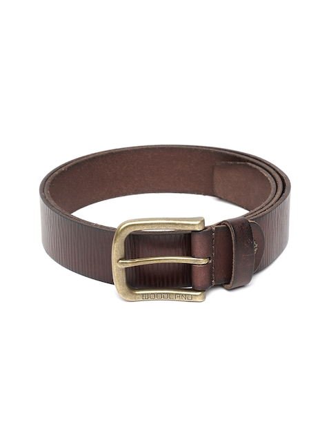 Woodland Men Brown Leather Textured Belt