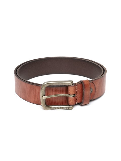 Woodland Men Tan Brown Leather Textured Belt