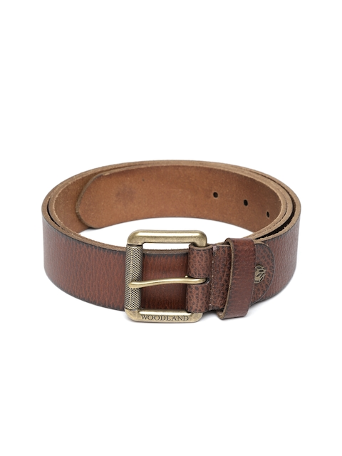 Woodland Men Brown Leather Textured Belt