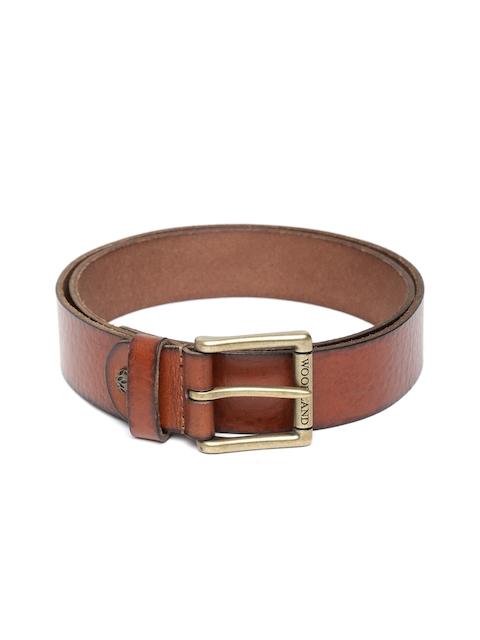 Woodland Men Brown Leather Solid Belt