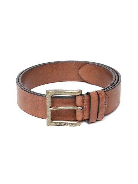 Woodland Men Tan Brown Leather Solid Belt