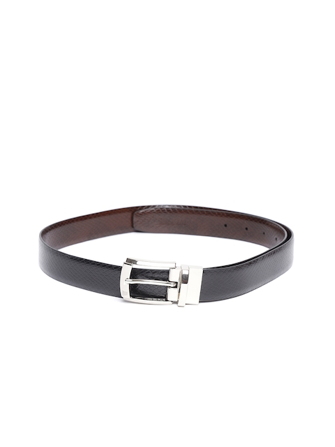 Woodland Men Black & Coffee Brown Snakeskin Textured Reversible Leather Belt