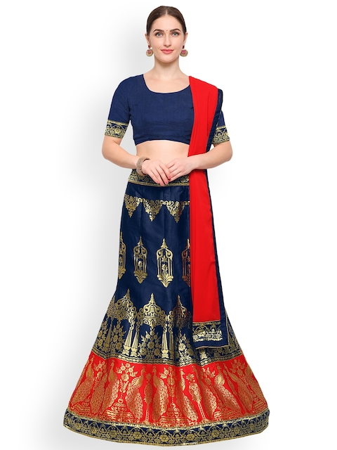 Styles Closet Blue & Red Solid Unstitched Lehenga & Blouse with Dupatta
