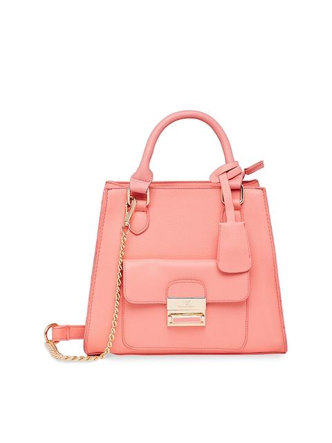 Diana Korr Peach-Coloured & Bronze-Toned Solid Handheld Bag