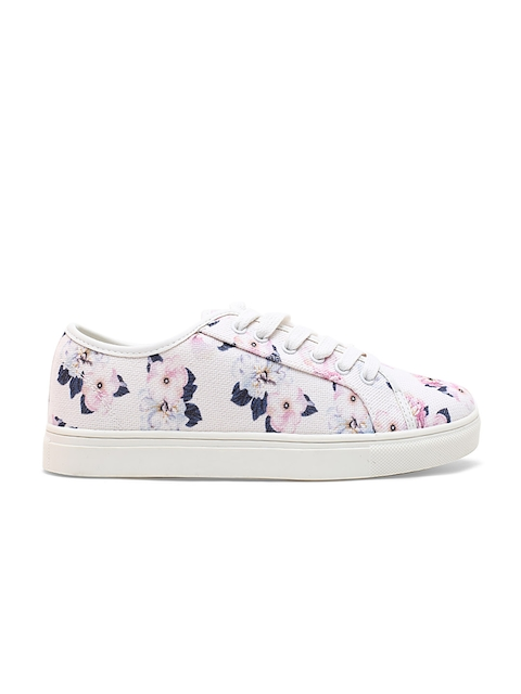 United Colors of Benetton Women Off-White & Pink Floral Print Sneakers