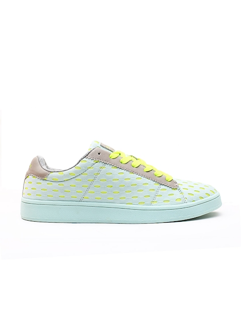 United Colors of Benetton Women Green Woven Design Sneakers
