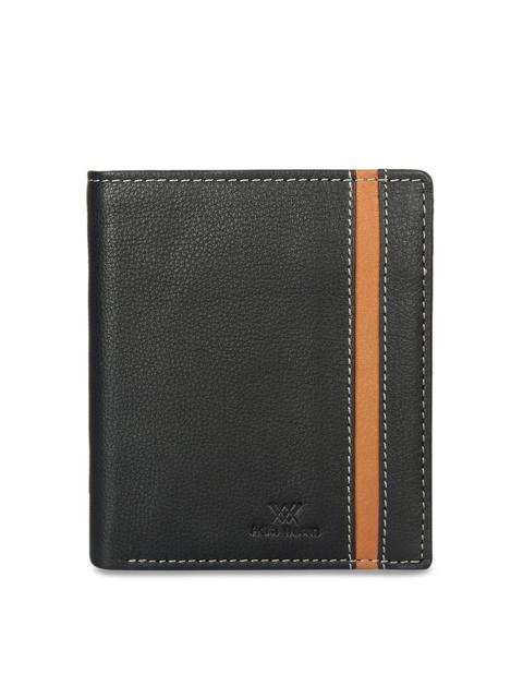 Aditi Wasan Men Black Leather Textured Two Fold Wallet