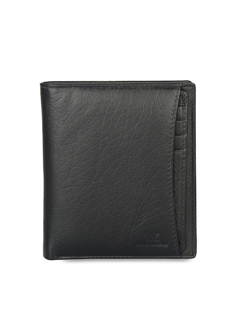 Aditi Wasan Men Black Leather Textured Two Fold Wallet