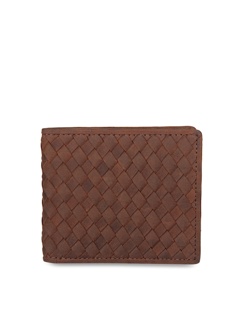 Aditi Wasan Men Brown Leather Self Design Two Fold Wallet