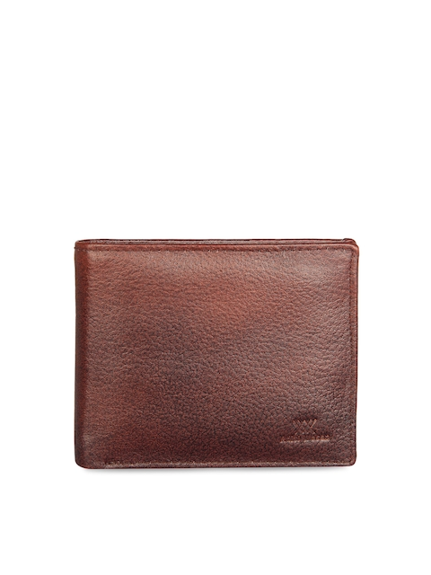 Aditi Wasan Men Brown Leather Textured Two Fold Wallet